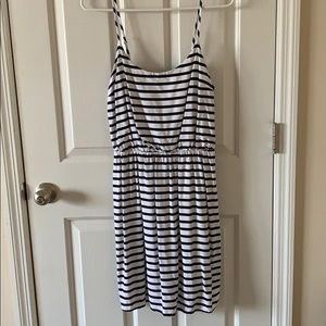 White and navy stripe dress.